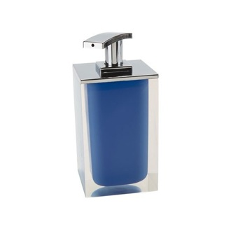 Soap Dispenser Square Soap Dispenser Made From Resin in Blue Finish Gedy RA82-05