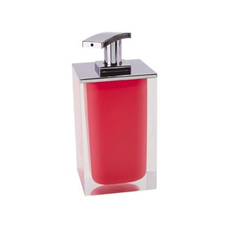 Soap Dispenser Square Soap Dispenser Made From Resin in Red Finish RA82-06 Gedy RA82-06