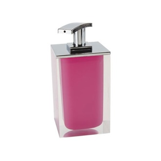 Soap Dispenser Square Soap Dispenser Made From Resin in Pink Finish RA82-76 Gedy RA82-76
