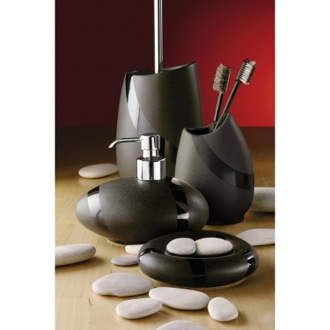 Bathroom Accessory Set Stone Moka Accessory Set of Pottery and Brass ST100-29 Gedy ST100-29