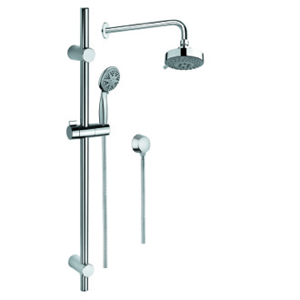 Shower System Chrome Shower System with Hand Shower with Sliding Rail, Showerhead, and Water Connection SUP1003 Gedy SUP1003
