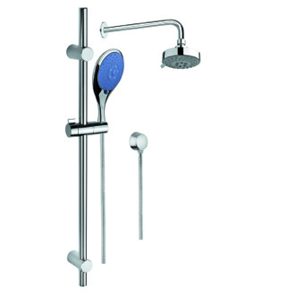 Shower System Shower System with Chrome Hand Shower with Sliding Rail, Showerhead, and Water Connection SUP1011 Gedy SUP1011