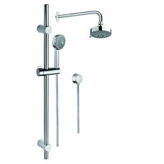 Shower System Shower System in Chrome with Hand Shower with Sliding Rail, Showerhead, and Water Connection SUP1012 Gedy SUP1012