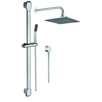 Shower System Chrome Shower System with Showerhead, Hand Shower with Sliding Rail, and Water Connection SUP1015 Gedy SUP1015