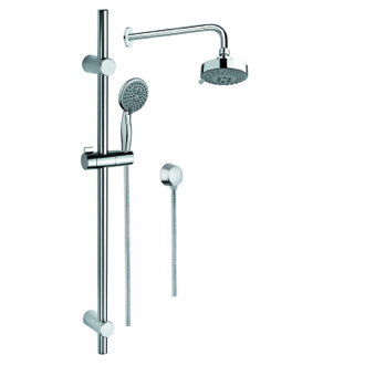 Shower System Chrome Shower System with Hand Shower and Sliding Rail, Showerhead, and Water Connection SUP1018 Gedy SUP1018