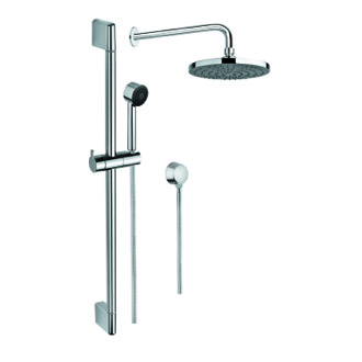 Shower System Chrome Shower System with Hand Shower and Sliding Rail, Shower, and Water Connection SUP1021 Gedy SUP1021