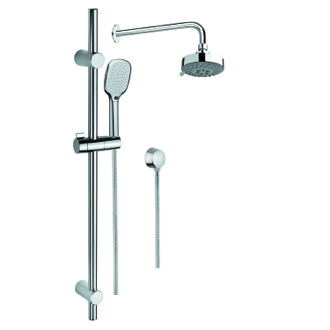 Shower System Chrome Shower System with Hand Shower, Sliding Rail, Showerhead, and Water Connection SUP1031 Gedy SUP1031