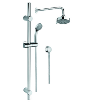 Shower System Shower Solution in Chrome with Hand Shower and Sliding Rail, Showerhead, and Water Connection SUP1033 Gedy SUP1033