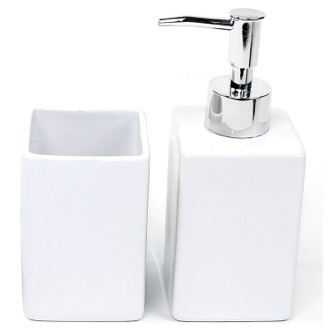 Bathroom Accessory Set White Pottery 2 Piece Accessory Set VE500 Gedy VE500