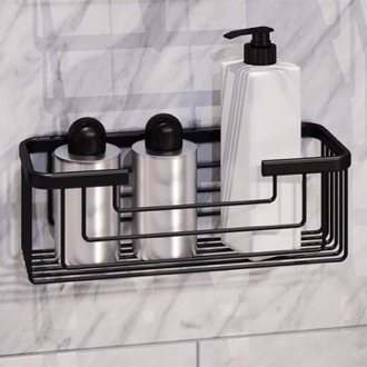 Matte Black Shower Basket Gedy 2419-14