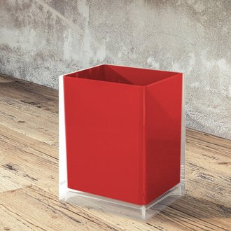 Free Standing Waste Basket With No Cover in Red Finish Gedy RA09-06