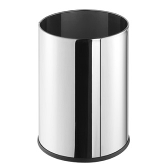 Free Standing Round Polished Stainless Steel Waste Bin Geesa 640