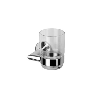 Wall Mounted Glass Tumbler with Chrome Holder Geesa 6502-02
