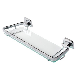 Bathroom Shelf 14 Inch Clear Glass Bathroom Shelf Holder with Chrome Geesa 7248-35