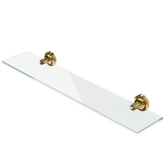 Bathroom Shelf Wall Mounted Gold Brass and Glass Bathroom Shelf 7301-04-60 Geesa 7301-04-60