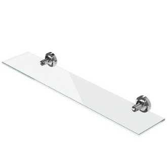 Bathroom Shelf Wall Mounted Chrome Brass and Glass Bathroom Shelf 7301-02-60 Geesa 7301-02-60