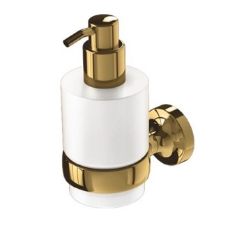 Soap Dispenser Wall Mounted Gold Brass and Frosted Glass Soap Dispenser 7316-04 Geesa 7316-04