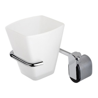 Toothbrush Holder Wall Mounted Frosted Glass Tumbler With Chrome Holder 8502-06 Geesa 8502-06