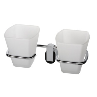 Toothbrush Holder Wall Mounted Frosted Glass Double Tumbler With Chrome Holder 8522-06 Geesa 8522-06