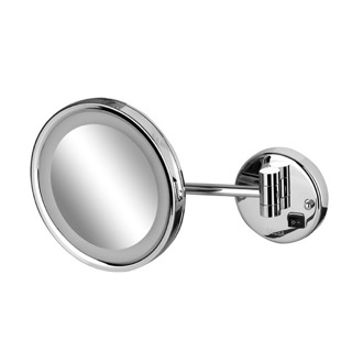 Makeup Mirror Wall Mounted Round Chrome LED 3x Magnifying Mirror 1088 Geesa 1088