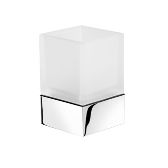 Toothbrush Holder Square Frosted Glass Bathroom Tumbler with Chrome 3502-02 Geesa 3502-02