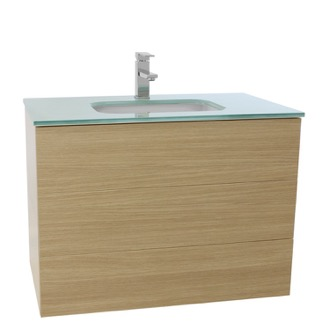 Bathroom Vanity 32 Inch Natural Oak Bathroom Vanity with White Glass Top, Wall Mounted Iotti TN107
