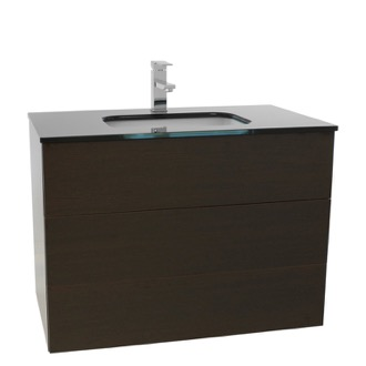 Bathroom Vanity 32 Inch Wenge Bathroom Vanity with Black Glass Top, Wall Mounted Iotti TN104