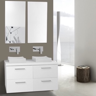 Bathroom Vanity 37 Inch Glossy White Double Vessel Sink Bathroom Vanity, Wall Mounted, Mirrors Included Iotti AN360