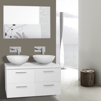 Bathroom Vanity 37 Inch Glossy White Double Vessel Sink Bathroom Vanity, Wall Mounted, Mirror Included Iotti AN364