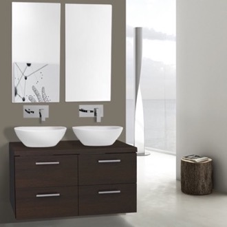 Bathroom Vanity 37 Inch Wenge Double Vessel Sink Bathroom Vanity, Wall Mounted, Mirrors Included Iotti AN370