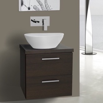 19 Inch Wenge Small Vessel Sink Bathroom Vanity, Wall Mounted Iotti AN17