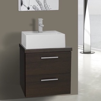 19 Inch Wenge Small Vessel Sink Bathroom Vanity, Wall Mounted Iotti AN18
