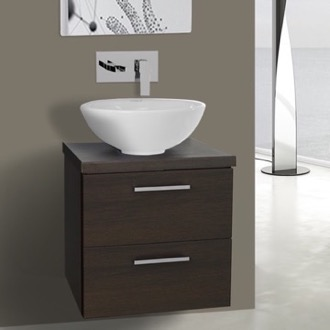 19 Inch Wenge Small Vessel Sink Bathroom Vanity, Wall Mounted Iotti AN20