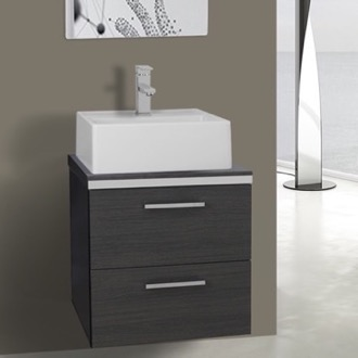 Bathroom Vanity 19 Inch Grey Oak Small Vessel Sink Bathroom Vanity, Wall Mounted Iotti AN22