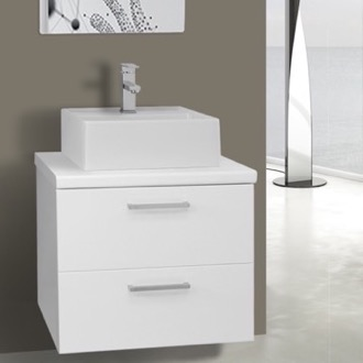 22 Inch Glossy White Vessel Sink Bathroom Vanity, Wall Mounted Iotti AN39