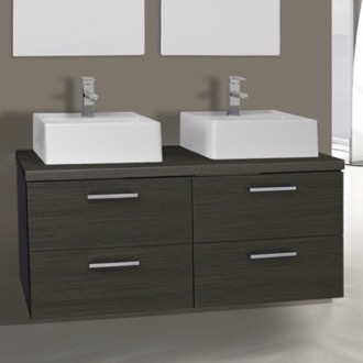 Bathroom Vanity 45 Inch Grey Oak Double Vessel Sink Bathroom Vanity, Wall Mounted Iotti AN59