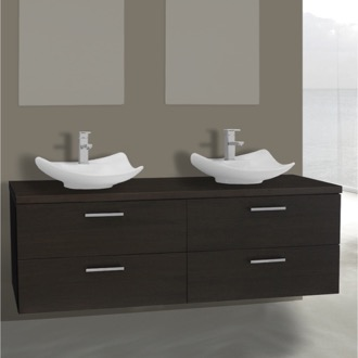 Bathroom Vanity 61 Inch Wenge Double Vessel Sink Bathroom Vanity, Wall Mounted Iotti AN80