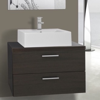 Bathroom Vanity 30 Inch Wenge Vessel Sink Bathroom Vanity, Wall Mounted Iotti AN65