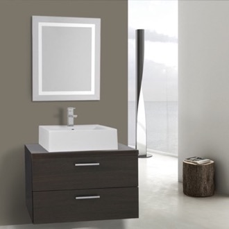 Bathroom Vanity 30 Inch Wenge Bathroom Vanity, Wall Mounted, Lighted Mirror Included Iotti AN2129