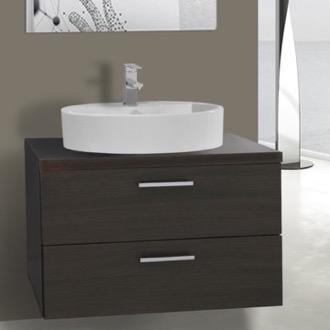 Bathroom Vanity 30 Inch Wenge Vessel Sink Bathroom Vanity, Wall Mounted Iotti AN66