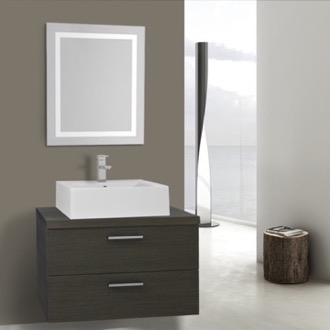 30 Inch Grey Oak Bathroom Vanity, Wall Mounted, Lighted Mirror Included Iotti AN2149