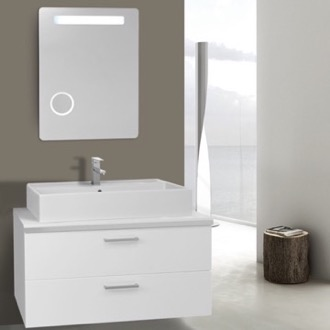 Bathroom Vanity 38 Inch Glossy White Double Vessel Sink Bathroom Vanity, Wall Mounted, Lighted Mirror Included Iotti AN714