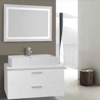 38 Inch Glossy White Bathroom Vanity, Wall Mounted, Lighted Mirror Included Iotti AN2166
