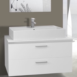 38 Inch Glossy White Vessel Sink Bathroom Vanity, Wall Mounted Iotti AN86