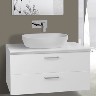 38 Inch Glossy White Vessel Sink Bathroom Vanity, Wall Mounted Iotti AN88