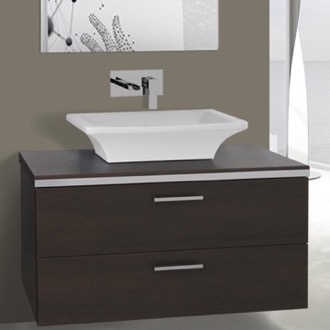 Bathroom Vanity 38 Inch Wenge Double Vessel Sink Bathroom Vanity, Wall Mounted Iotti AN89