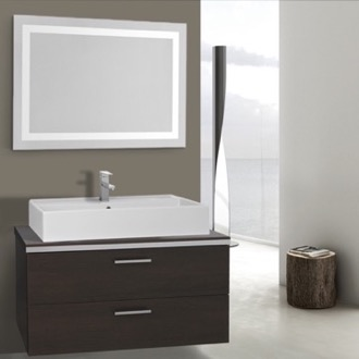 38 Inch Wenge Bathroom Vanity, Wall Mounted, Lighted Mirror Included Iotti AN2178