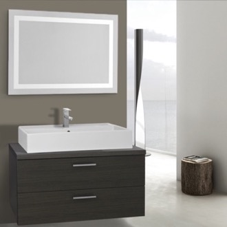 38 Inch Grey Oak Bathroom Vanity, Wall Mounted, Lighted Mirror Included Iotti AN2190