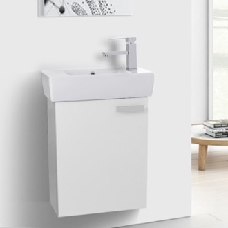 Bathroom Vanity 19 Inch Glossy White Wall Mount Bathroom Vanity with Fitted Ceramic Sink ACF C137