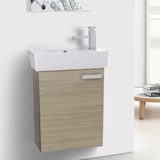 19 Inch Larch Canapa Wall Mount Bathroom Vanity with Fitted Ceramic Sink ACF C140